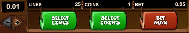 Le pari de 1 pièce de 25 cents est la mise minimale