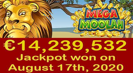 €14,239,532 jackpot won on August 17th, 2020