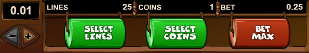 The bet of 1 coin of 25 cents is the minimum stake